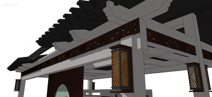 超精细新中式岗亭门楼