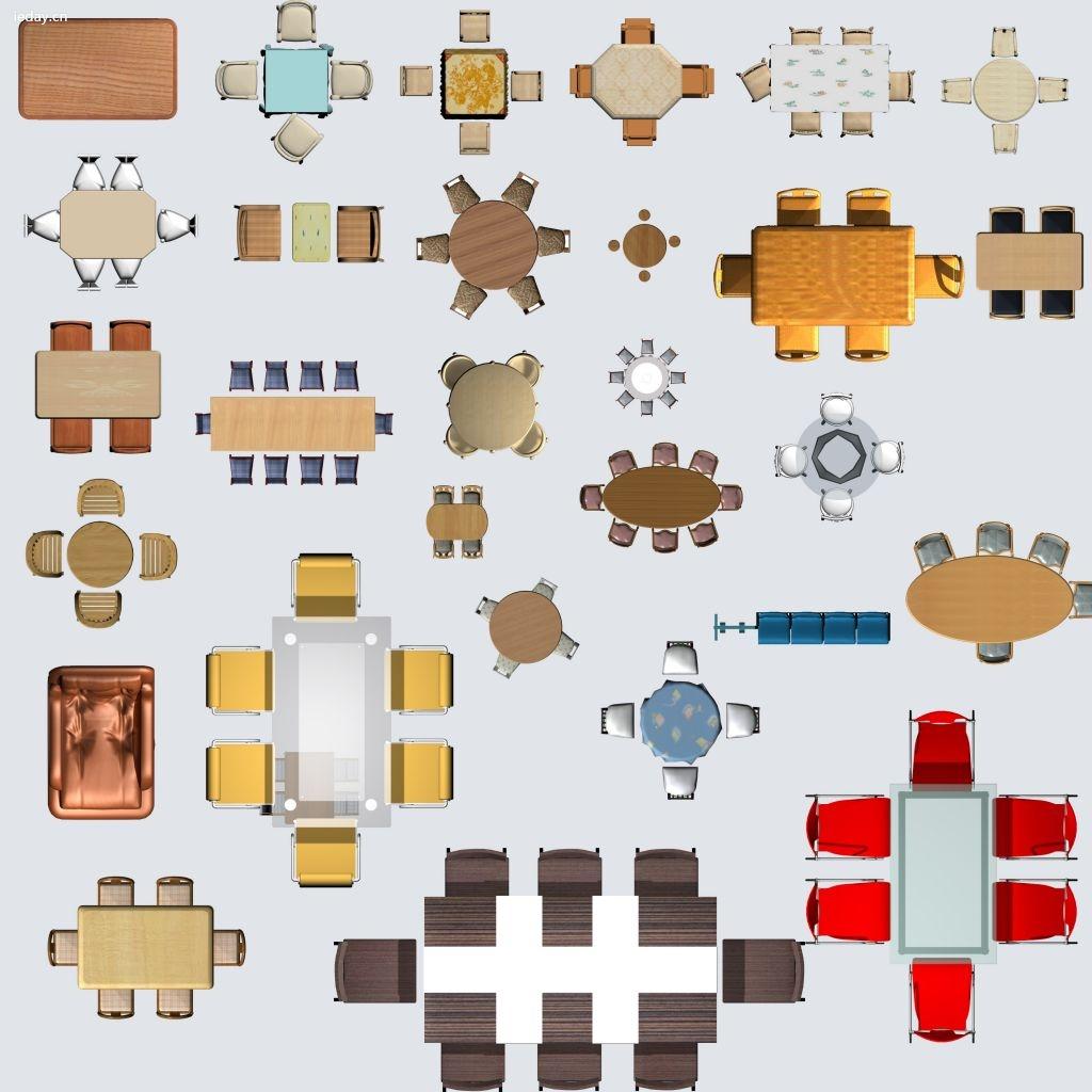 69 ps素材库  [平面图素材]餐桌psd分层素材下载-室内设计psd彩平图