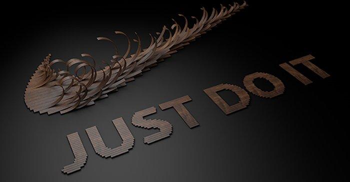 耐克的创意木质字体设计欣赏