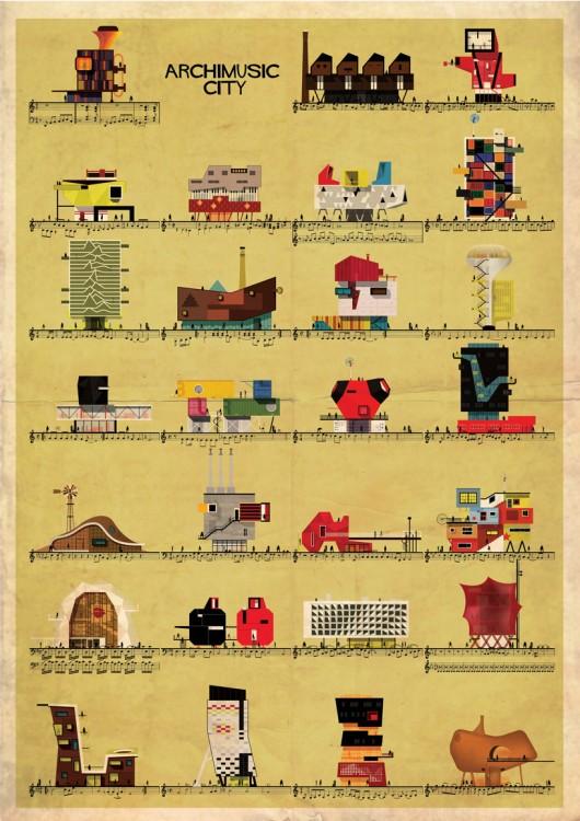 建筑是乐谱上律动的音符 federico babina插画设